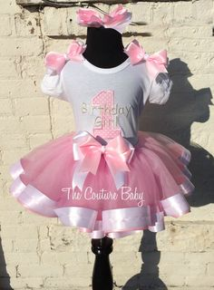 Birthday Girl Pink & White Ribbon Tutu Set from The Couture baby