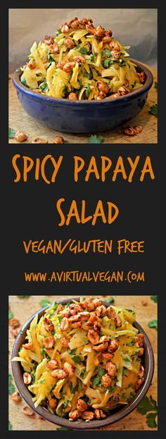 Fed up with boring green salad? Try this fresh and spicy papaya salad with smoky roasted peanuts and a lime chilli dressing. Fresh, vibrant and healthy. #papayasalad #papaya via @avirtualvegan