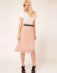 Asos Pleated Skirt in Pink (peach)