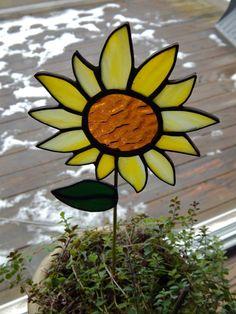 Stained Glass Sunflower Pot Sticker/Garden by RedfordGlassStudio, $22.50