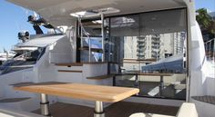 The aft deck on Beneteau's GT 49 Fly.  This is one of the many seating areas aboard.