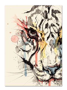 Ink drawing with a kiss of watercolor for added interest. Geometric Lion, Tiger Art, Tatoo Art, Watercolor Paintings, Watercolour, Watercolor Tiger, Watercolor Portraits, Watercolor Landscape, Abstract Paintings