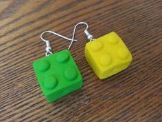 Fun & Chunky Handmade Lego Brick Polymer clay earrings via Etsy £3.95