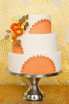 Tangerine Wedding Cake by Wild Orchid Baking Co. #watters #wedding #cake www.Pinterest.com/wattersdesigns/