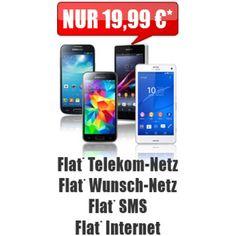 """Flatrate* ins Telekom-Netz     Flatrate* 1 Wunschnetz (Vodafone, E-Plus, O2 oder Festnetz)     Internet-Flatrate (7,2 MBit, ab 500 MB Drosselung auf GPRS-Geschwindigkeit)     SMS Allnet-Flatrate*     Anschlussgebühr - 29,99 € werden nach SMS an die Nr. 8362 mit dem Text """"AP frei"""" erstattet!     nur 19,99 € monatlich     inkl. Smartphone oder bis zu 240,- € Auszahlung"""