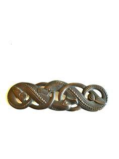 Gustav Gaudernack design for own workshop. Small cast bronze brooch in dragon style. Prototype from wax model. Bronze Brooches, Wax, Workshop, It Cast, Dragon, Models, Bracelets, Jewelry, Design
