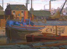 "Titled: ""The Barges, Leeds"".Oil on canvass by French born artist 'Charles Ginner' .He fell in love with the patterns and shapes of English cities 'n moved to UK from France in Photo credit: Southampton City Art Gallery Ripon Cathedral, Norwich Cathedral, Leeds Art Gallery, Museum Art Gallery, Southampton City, Impressionist Artists, Brighton And Hove, Post Impressionism, Art Uk"