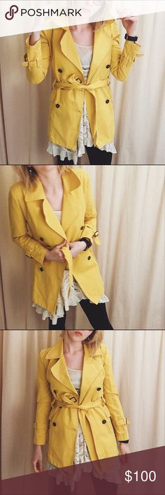 Spotted while shopping on Poshmark: FIORUCCI • Spring Yellow Belted Trench Coat! #poshmark #fashion #shopping #style #FIORUCCI #Jackets & Blazers
