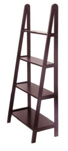 wooden ladder shelf display book storage rack espresso frame leaning 4 tier wood