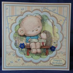 Bearable Friends. 8 x 8 decoupaged card. Available from : www.therhodaharveycollection.co.uk