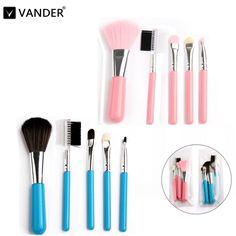Vander 5 Stks Up Kwasten Sets Gift Cosmetica Gereedschap Oogschaduw Foundation Cosmetische Make Borstel Blusher Borstels Kits Roze Blauw