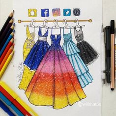 I'm really fan of those social media drawings I can't choose which dress I would bought if possible, they're all so beautiful and goals! Which one would you choose? Amazing Drawings, Cool Art Drawings, Amazing Artwork, Art Drawings Sketches, Disney Drawings, Social Media Art, Fashion Design Drawings, Medium Art, Cute Art