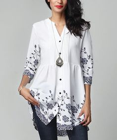 Reborn Collection White Floral Chiffon Button-Down Pin-Tuck Tunic   zulily