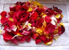 Fresh picked rose petal potpourri from the garden, dried, with a few drops of Lavender oil.