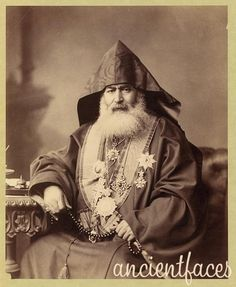 Harootiun Vehabedian was the Armenian Patriarch of Jerusalem from 1885 until 1910.  The Armenian Apostolic Church is the world's oldest National Church (Armenia adopted Christianity as the country's official religion in 301 AD) and is one of the most ancient Christian communities. Original post: http://www.ancientfaces.com/research/photo/1165395/palestine-jerusalem-armenian-patriarch-family-phot