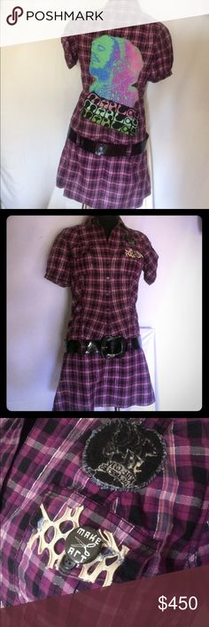 1 of a kind vintage Bob Marley purple plaid dress Vintage short sleeve light cotton dress made of purple, black and silver plaid with hand sewn Bob Marley graphics on back from vintage tees. Dress is button up, collared, low waist with military style sleeves. Also features patch and button from Kill City brand obtained directly from the Lip Service factory in L.A. before it was sold.  Vinyl mod belt included. See more at Www.RealLexaVonn.com Plastics Style! by Lexa Vonn Dresses
