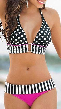 Monochrome Polka Dot And Stripe Print Halter Bikini Top And Contrast Bottom