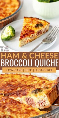 A satisfying ham and broccoli quiche is perfect for a keto breakfast, lunch, or dinner. It includes a crisp gluten-free and low-carb savory crust. Healthy Low Carb Recipes, High Protein Recipes, Healthy Meal Prep, Ketogenic Recipes, Keto Meal, Healthy Foods, Healthy Eating, Egg Recipes, Brunch Recipes