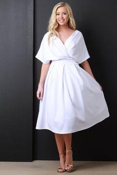 Surplice V-Neck Kimono Sleeves Midi Dress Midi Dress With Sleeves, Dress Up, Church Outfits, Kimono, White Dress, Feminine, Classy, Wedding Dresses, Womens Fashion
