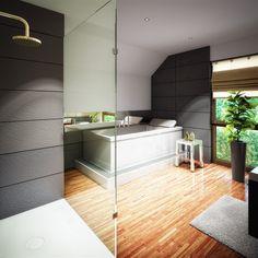Popular Leuchtendes Gr n anthrazitfarbene Steinw nde und ein Holzboden der Extraklasse Ein Bad zum Wohlf hlen