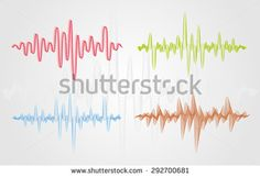 Set of color #vector #sound waves. #Audio #equalizer technology, pulse musical. Can be used in club, radio, pub, party, concerts, recitals or the audio technology advertising background.