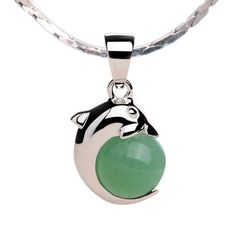 100% Natural Gemstone Green Aventurine Dolphin Shope 925 Sterling Silver Green Aventurine, Gift For Lover, Natural Gemstones, Fine Jewelry, Pendant Necklace, Sterling Silver, Type, Elegant, Products