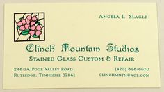 Engraved business card. Four color, printed on heavy ecru cardstock. Designed and printed by Larry B. Newman Printing Company.