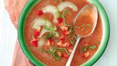 Le gaspacho de concombre et fraises à la menthe de Valery Drouet