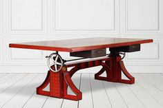 Handcrafted Bronx Crank Desk is a Vintage Industrial Beauty