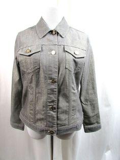 Chicos Platinum Gray Jean Denim Jacket Gold Metallic Size 1 Medium M  Excellent #Chicos #JeanJacket #Casual