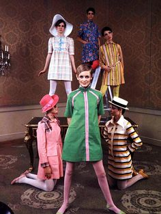 English fashion model Twiggy modeling a dress by designer Betsey Johnson, United Kingdom, 1967, photographer unknown.