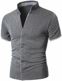 Doublju - Camisa Casual em Gola Alta Chinesa, Cinza (GDT06) Compre roupas de qualidade, com design inovador e preço justo!