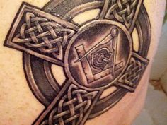 celtic cross with freemason symbol tattoo