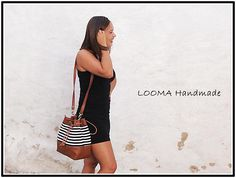Bucket Tote in black and white striped canvas with brown