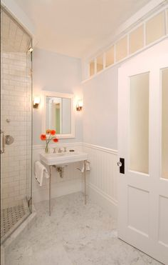 Basement bathroom (internal windows there for light?)