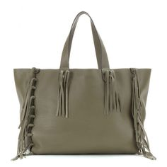 Valentino - C-Rockee leather tote - Valentino's 'C-Rockee' tote is constructed from soft, grainy army-style green leather. Unlined and finished with fringed tassels, this roomy piece has a bohemian aesthetic that will bring an instant hit of chic to your look. seen @ www.mytheresa.com