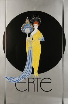 "Russian-born painter (real name Romain de Tirtoff) was one of the great fashion and stage designers of the early century. He is known as the ""father of Art Deco"". Estilo Art Deco, Arte Art Deco, Moda Art Deco, Art Deco Artists, Art And Illustration, Illustration Fashion, Fashion Illustrations, Art Deco Posters, Vintage Posters"
