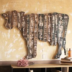 Reclaimed Wood Cow Wall Art | dotandbo.com  Like the rustic wood, just a different shape for Banner's room