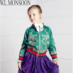 ==> [Free Shipping] Buy Best W.L.MONSOON Girls Coats Vintage Flower Print Kids Jackets With O Neck Fashion Designer Children Jackets Zipper Up Girls Clothes Online with LOWEST Price | 32722375443