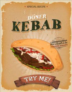 Vintage fast food poster design vector 07