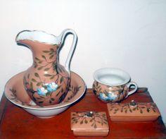 Fine Doll Size 4 Piece China Wash Bowl & Pitcher Set Peach w  Blue Flowers