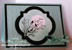 """Porch Swing Creations-Posted 4-5-13 Stamp sets: Serene Silhouettes Cardstock: Whisper White, Pool Party, Basic Black Ink: Pool Party, Basic Black Accessories: Houndstooth Embossing Folder, Window Frames Collection Framelits, 1 1/4"""" circle punch, Pool Party ribbon from Sale-a-bration ribbon and button pack, sponges, snail, dimensionals"""