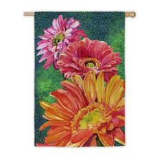 Gerber Daisies Suede Reflections House Flag