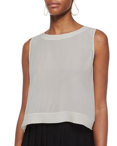 Button-Back Silk Crop Shell