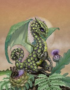 Stanley Morrison's whimsical dragon poster art featuring the green and beautiful artichoke dragon. Don't dip him in butter. Dragon 2, Fantasy Dragon, Baby Dragon, Fantasy Art, Magical Creatures, Fantasy Creatures, Dragon Series, Dragon Artwork, Dragon Drawings