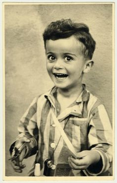 Portrait of 4-year-old Istvan Reiner, (taken shortly before he was killed in Auschwitz), 1943-44. It's heart-breaking how happy the little guy looks.