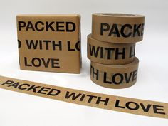 Sticky paper tape 'Packed with Love' - pipapur - Wrapping paper - Wrapping Paper & Co. - DaWanda