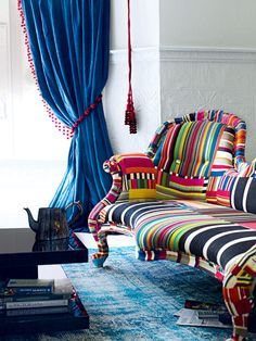 Colorful Stripes! Wouldn't you love to sit on this funky sofa?