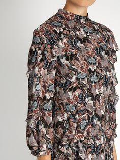 Japanese Butterfly-print georgette midi dress | Valentino |  MATCHESFASHION.COM