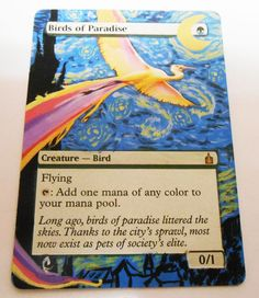 MTG Altered Painted Birds of Paradise Ravnica City of Guilds #WizardsoftheCoast